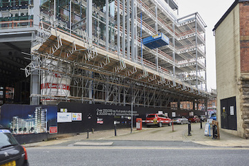 Scaffolding for Central Square Leeds project by Crossway